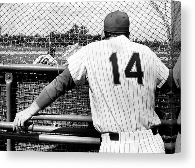 Baseball Catcher Canvas Print featuring the photograph Mets Manager Gil Hodges Gets Catchers by New York Daily News Archive