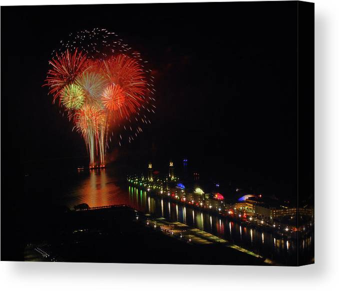 Firework Display Canvas Print featuring the photograph Navy Pier Fireworks by Image By Douglas R. Siefken