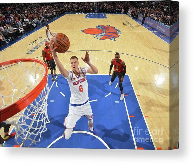 Nba Pro Basketball Canvas Print featuring the photograph New York Knicks V Atlanta Hawks by Jesse D. Garrabrant