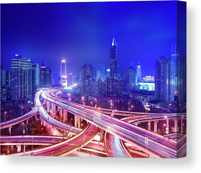 Blurred Motion Canvas Print featuring the photograph Night View Of A Six-level Interchange by Xpacifica