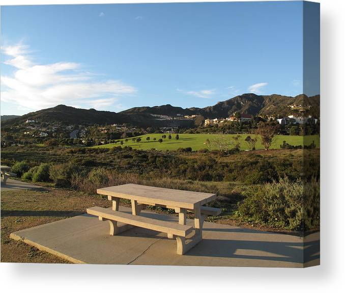 Tranquility Canvas Print featuring the photograph Park Bench In Malibu by Marianna Sulic