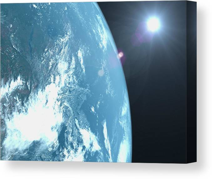 Majestic Canvas Print featuring the photograph Planet Earth, Satellite View by Caspar Benson