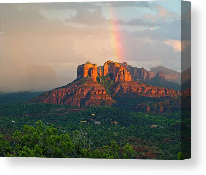 Scenics Canvas Print featuring the photograph Rainbow Over Arizona Scenery by Dougberry