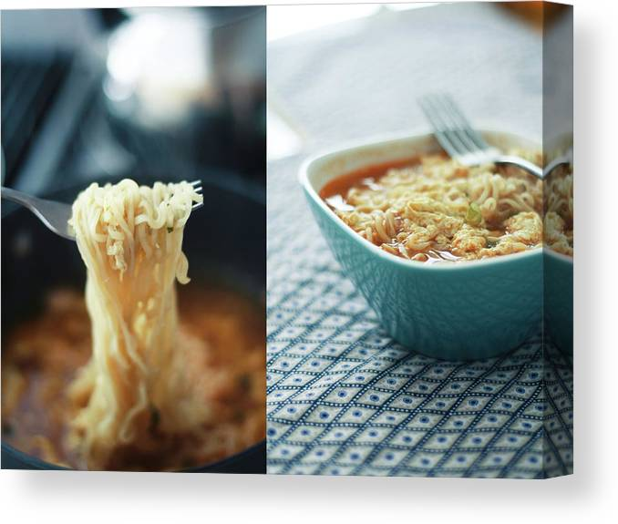 Kitchen Canvas Print featuring the photograph Ramen Noodles Diptych by Alice Gao Photography