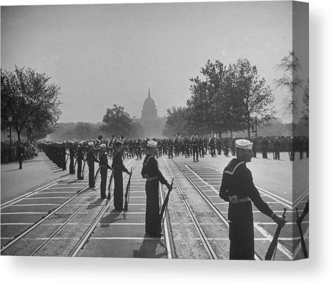 Timeincown Canvas Print featuring the photograph Sailors Lining Constitution Avenue For by Alfred Eisenstaedt