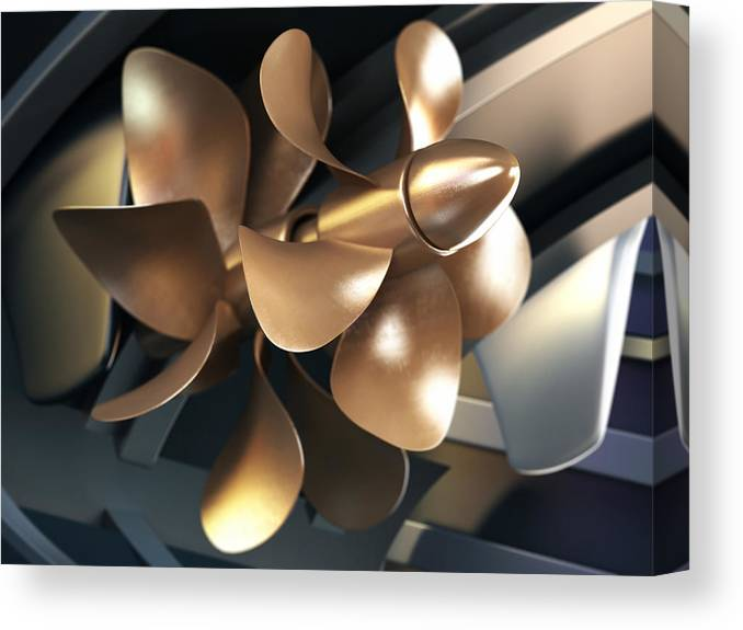 Engine Canvas Print featuring the photograph Ship Propeller by Adventtr