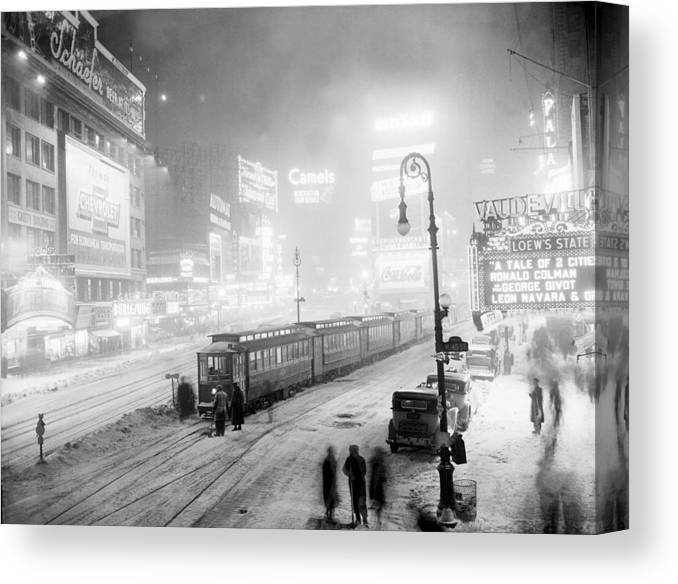 Thank You Canvas Print featuring the photograph Streetcars Are Stuck At W. 45th St. In by New York Daily News Archive