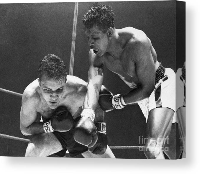 Conspiracy Canvas Print featuring the photograph Sugar Ray Robinson Fighting Jake by Bettmann