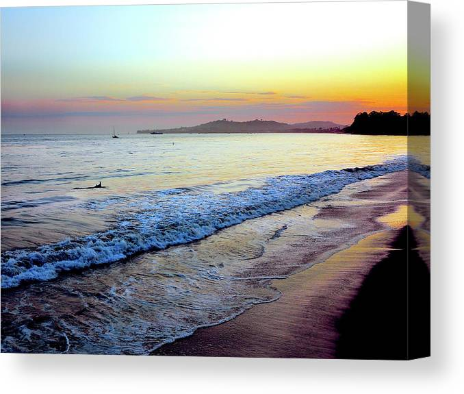 Tranquility Canvas Print featuring the photograph Sunset At Butterfly Beach, Santa by Geri Lavrov