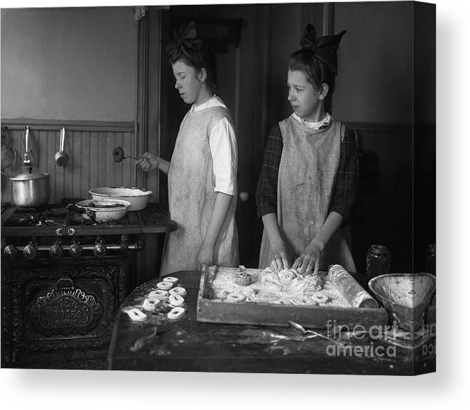 Working Canvas Print featuring the photograph Teenage Girls 15-17 Years Making by Bettmann
