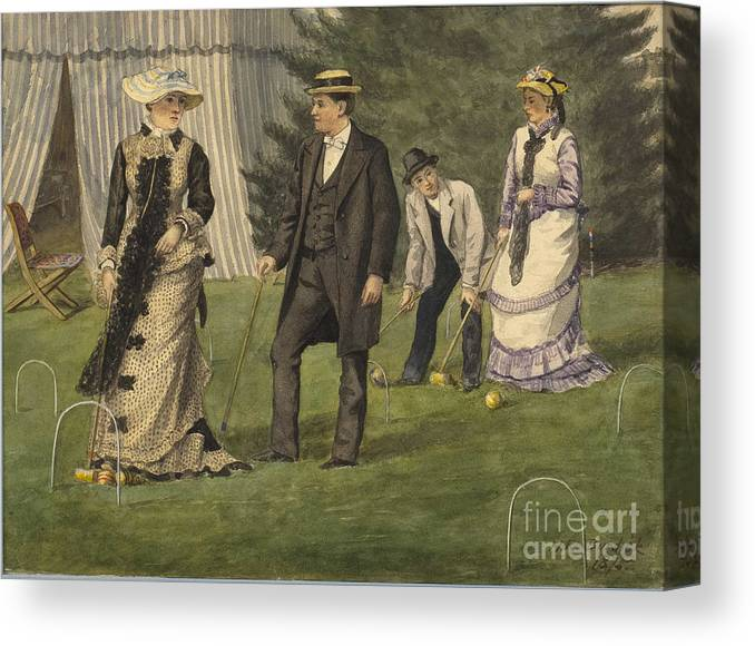 Painted Image Canvas Print featuring the drawing The Croquet Game by Heritage Images
