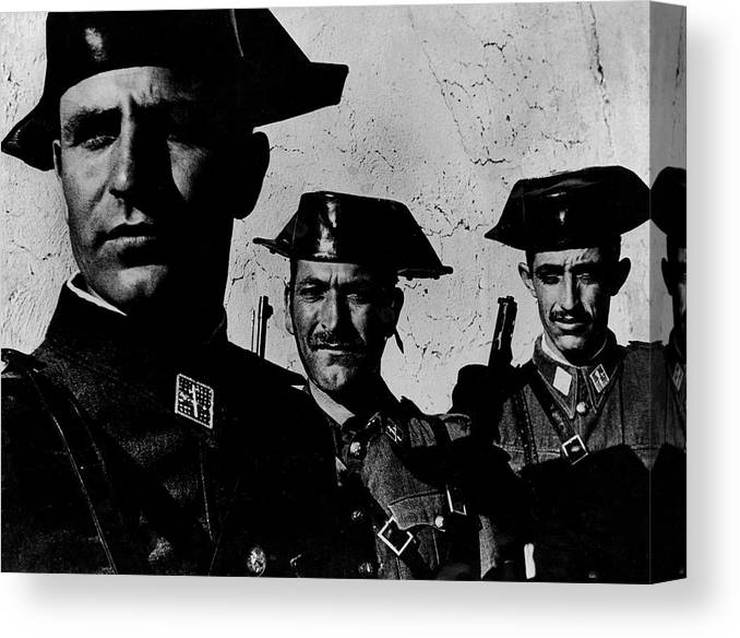 Timeincown Canvas Print featuring the photograph Three Members Of Dictator Francos Feare by W. Eugene Smith