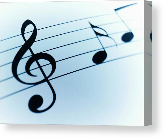Sheet Music Canvas Print featuring the photograph Treble Clef And Notes by Adam Gault