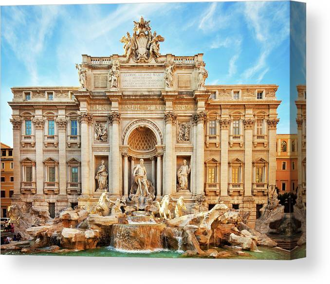 Empty Canvas Print featuring the photograph Trevi Fountain, Rome by Nikada