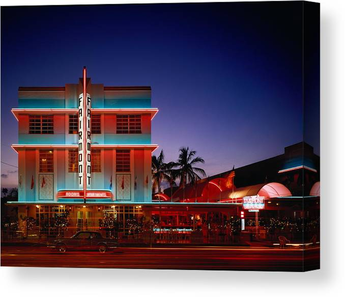 Hotel Canvas Print featuring the photograph Usa,florida,miami,art Deco Historic by Siegfried Layda