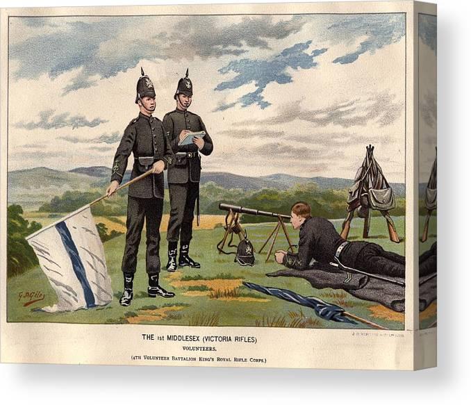 Rifle Canvas Print featuring the digital art Victoria Rifles by Rischgitz