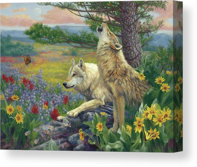 Wolf Canvas Print featuring the painting Wolves in the Spring by Lucie Bilodeau