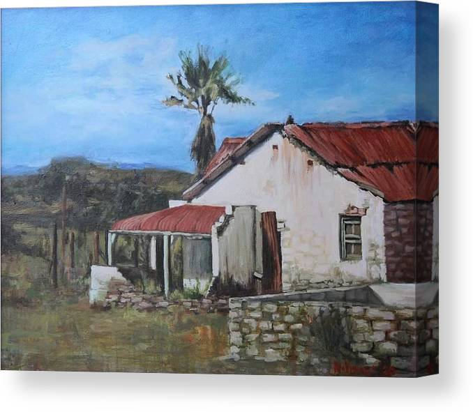 Landscape Canvas Print featuring the painting Farmyard by Nellie Visser