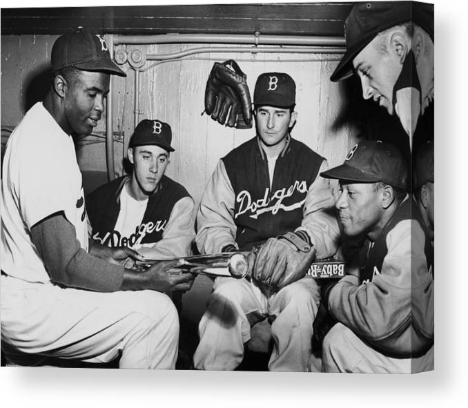 People Canvas Print featuring the photograph Jackie Robinson by Fpg