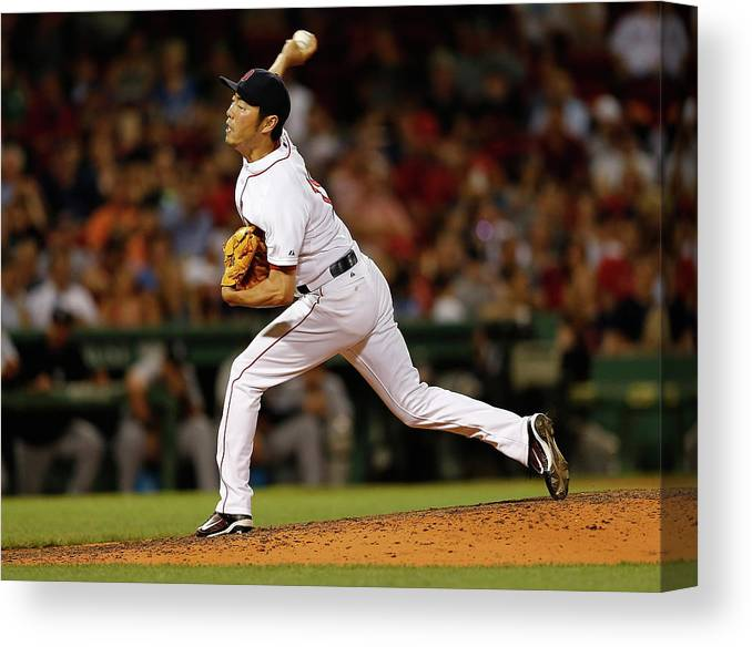 Ninth Inning Canvas Print featuring the photograph Koji Uehara by Jim Rogash