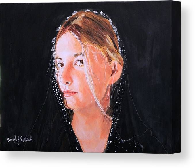 Portrait Of A Young Woman Canvas Print featuring the painting White Clouds by Jean-Paul Setlak