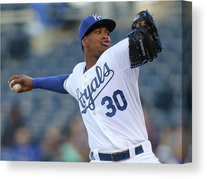 People Canvas Print featuring the photograph Yordano Ventura by Ed Zurga