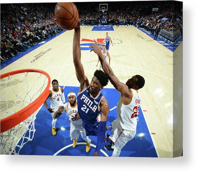 Description Canvas Print featuring the photograph Joel Embiid by Jesse D. Garrabrant