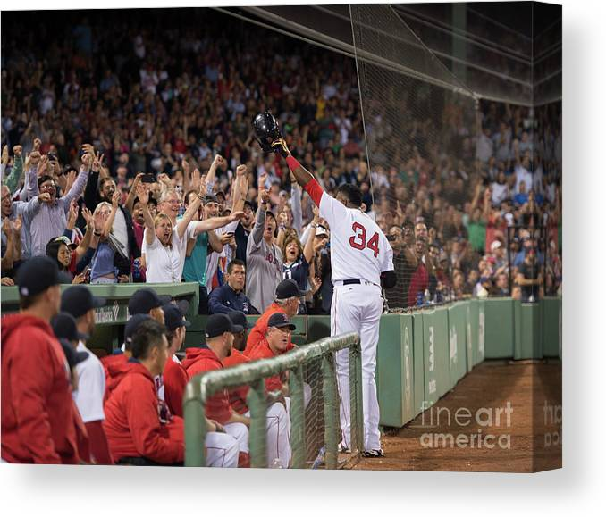 Crowd Canvas Print featuring the photograph David Ortiz by Michael Ivins/boston Red Sox