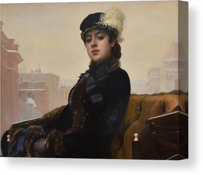 Unknown Woman Canvas Print featuring the painting Portrait of an Unknown Woman by Ivan Kramskoy