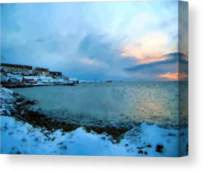 Nuuk Greenland Canvas Print featuring the mixed media Nuuk Greenland by Asbjorn Lonvig