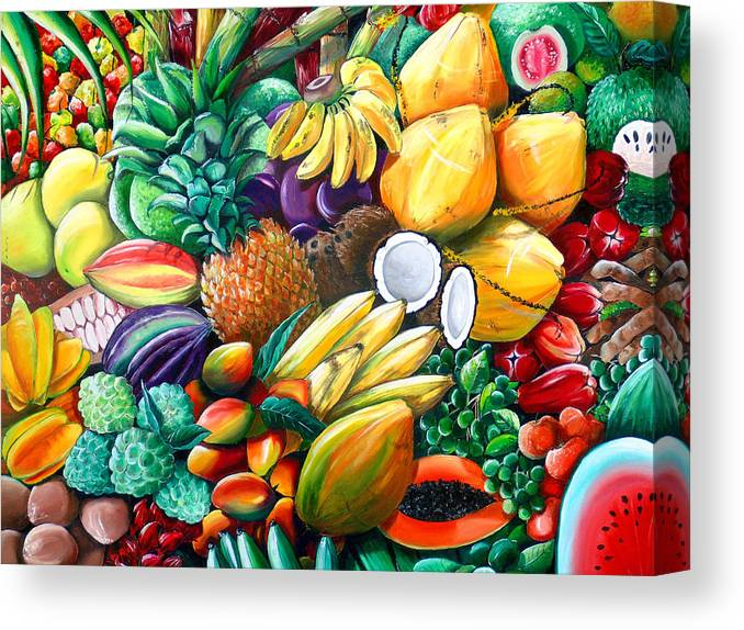 Caribbean Fruit Painting Tropical Fruit Painting Caribbean Pineapple Mangoes Bananas Coconut Watermelon Tropical Fruit Painting Canvas Print featuring the painting A Taste Of The Islands by Karin Dawn Kelshall- Best