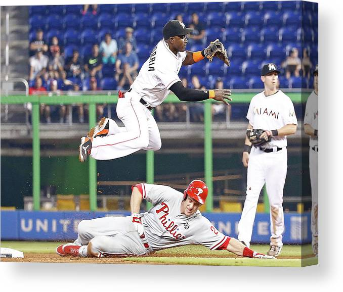 Double Play Canvas Print featuring the photograph Adeiny Hechavarria and Chase Utley by Rob Foldy