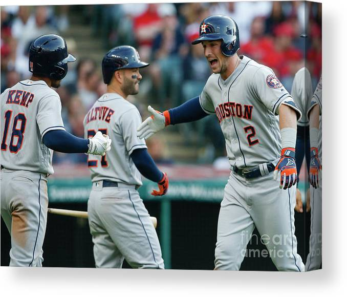 Alex Bregman Canvas Print featuring the photograph Alex Bregman, Mike Clevinger, and Tony Kemp by Ron Schwane