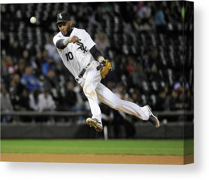 American League Baseball Canvas Print featuring the photograph Alexei Ramirez and Ben Zobrist by David Banks