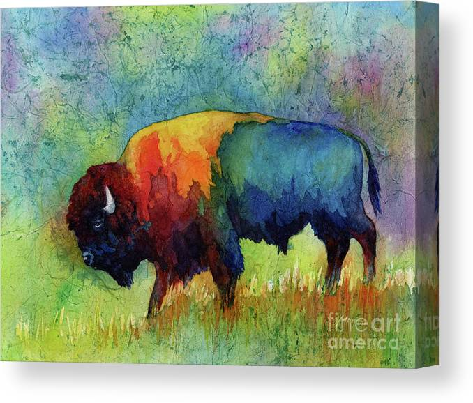 Bison Canvas Print featuring the painting American Buffalo III by Hailey E Herrera