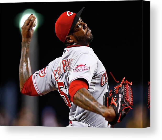 Ninth Inning Canvas Print featuring the photograph Aroldis Chapman by Jared Wickerham