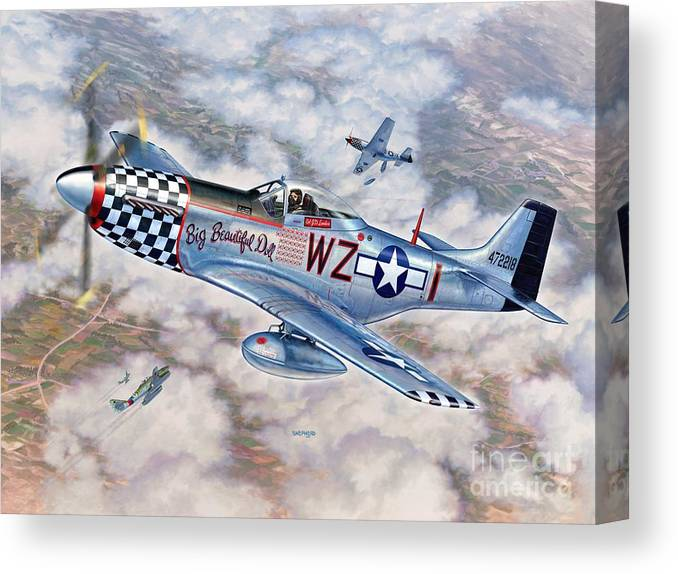 P-51 Mustang Canvas Print featuring the painting Big Beautiful Doll by Stu Shepherd