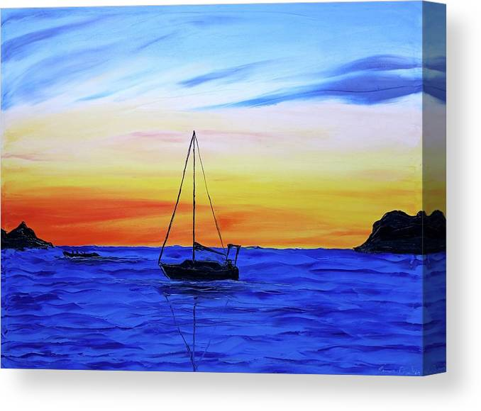 Canvas Print featuring the painting Blue Sails At Dusk by Dunbar's Local Art Boutique