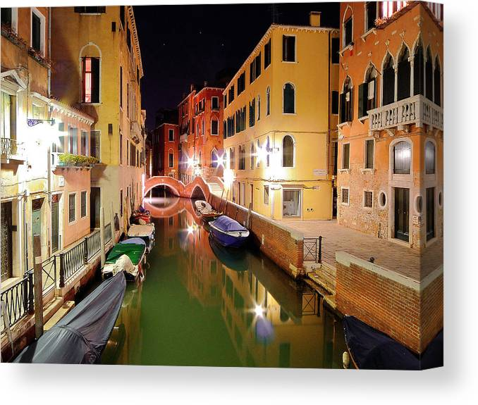 Outdoors Canvas Print featuring the photograph Boats in canal by Bernd Schunack
