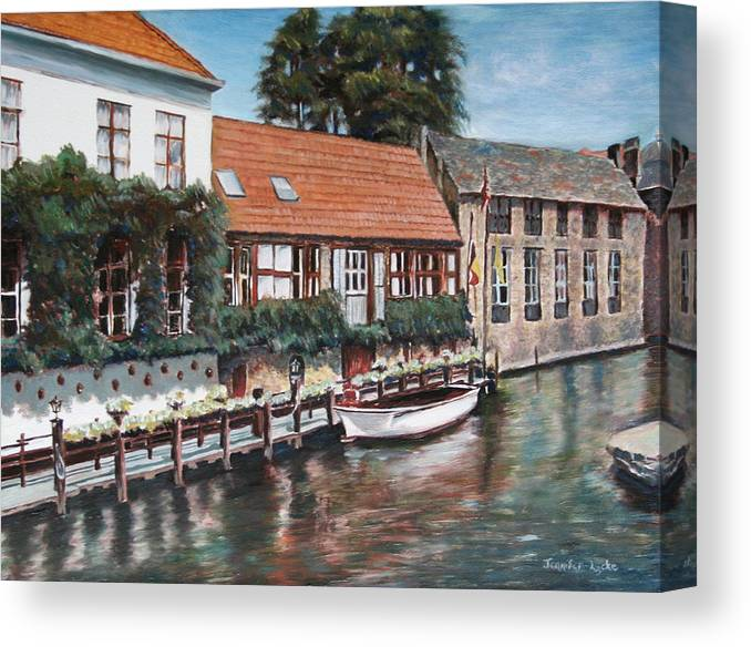 Belgium Canvas Print featuring the painting Bruges Boat in Belgium by Jennifer Lycke