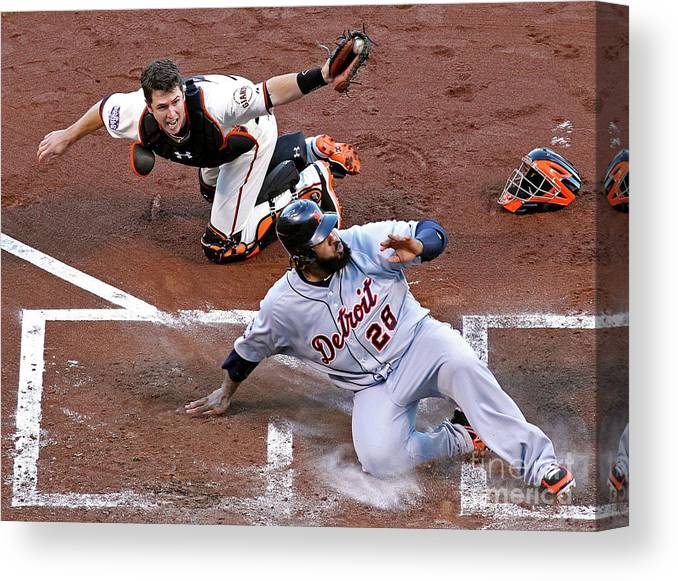 Game Two Canvas Print featuring the photograph Buster Posey and Prince Fielder by Christian Petersen