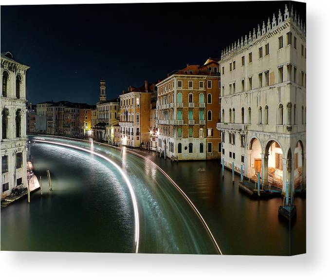 Post Canvas Print featuring the photograph Canal Grande at night by Bernd Schunack
