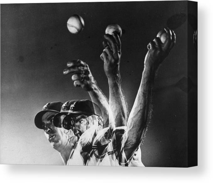 Curve Canvas Print featuring the photograph Carl Hubbell by Gjon Mili