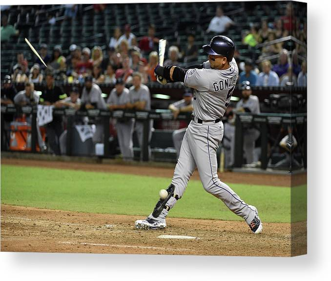Ninth Inning Canvas Print featuring the photograph Carlos Gonzalez by Norm Hall