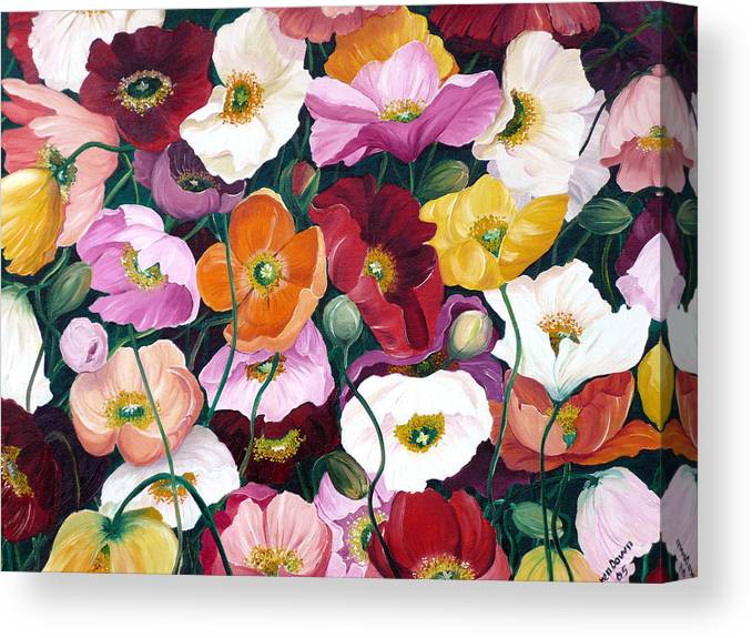 Flower Painting Floral Painting Poppy Painting Icelandic Poppies Painting Botanical Painting Original Oil Paintings Greeting Card Painting Canvas Print featuring the painting Cascade Of Poppies by Karin Dawn Kelshall- Best