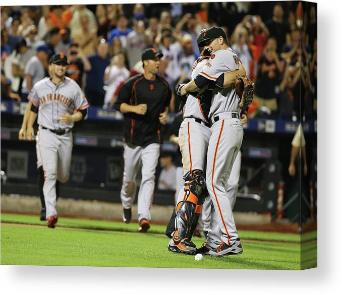 People Canvas Print featuring the photograph Chris Heston and Buster Posey by Al Bello