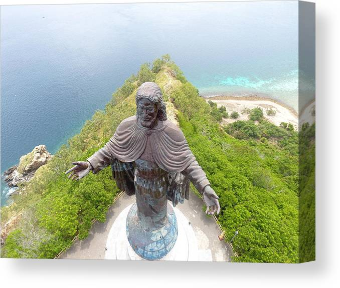 Adventure Canvas Print featuring the photograph Cristo Rei of Dili statue of Jesus by Brthrjhn2099