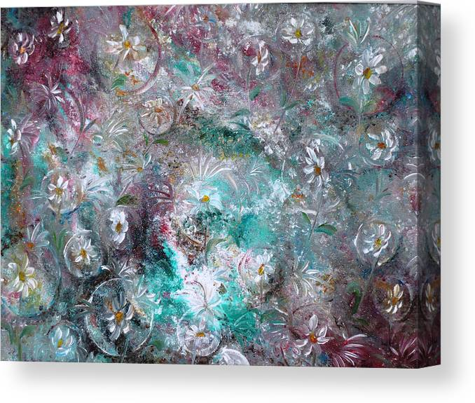 Original Flower Abstract Painting Canvas Print featuring the painting Daisy Dreamz by Karin Dawn Kelshall- Best