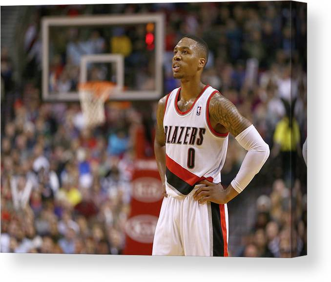 Nba Pro Basketball Canvas Print featuring the photograph Damian Lillard by Jonathan Ferrey