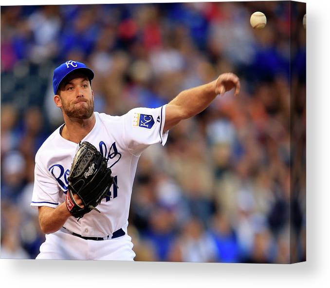 American League Baseball Canvas Print featuring the photograph Danny Duffy by Jamie Squire